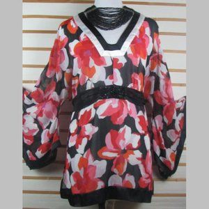 Sheer poly floral pull over tie in back blouse EUC